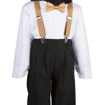 Black Knickers Set Pageboy Cap Colored Suspenders & Bow Tie  for Toddlers & Boys