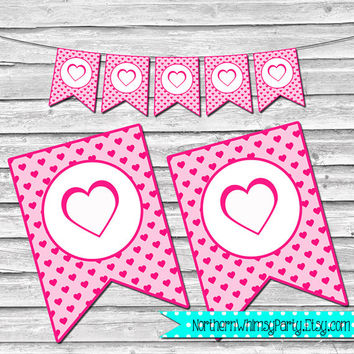 Printable Heart Valentine's Day Banner – Pink and White – Valentine's Party Decoration – Printable Heart Bunting – INSTANT DOWNLOAD