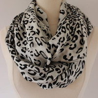 Infinity Scarf Leopard Cheetah Pashmina- Handmade White Black Loop, Circle, Infinity Chunky Scarf - Year Round Fashion