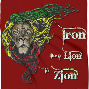 Iron like a Lion, in Zion. Red rasta bandana, Reggae music themed scarf, kerchief design