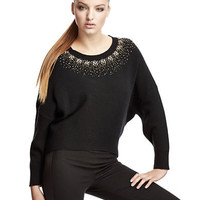 Dkny Long-Sleeve Embellished Crew Neck Top