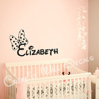 Wall Decal Vinyl Sticker Decals Art Decor Design Disney Custom Baby Name Mice Bow Minnie Mouse Gift Kid Children Nursery(r1282)
