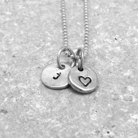 Tiny Letter j Necklace, Sterling Silver Initial Necklace, Heart Necklace, Charm Necklace, Initial Jewelry, Personalized Jewelry