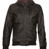 Black Leather Look Hoody - Casual Jackets - Mens Jackets & Coats - TOPMAN USA