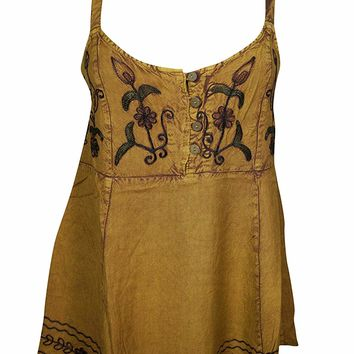 Mogul Interior Women's Spaghetti Strap Blouse Tank Yellow Embroidered Gypsy Boho Tops S/M