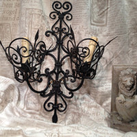 Wall Sconce / Wall Light  -  Large Vintage Gothic Iron Hand Forged Decorative Double Arm