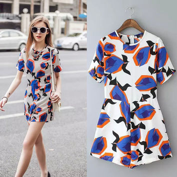 Summer Simple Design Print Romper [6315447233]