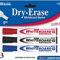 BAZIC Chisel Tip Dry-Erase Markers - 3 Pack