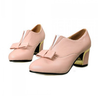 square high heel shoes casual bowknot appliques   heeled  pumps heels shoes size 32-45 P22754