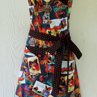 Retro Halloween Apron, Vintage Halloween Images, Witches, Skeletons, Black Cats, Pumpkins, Handmade , KitschNStyle