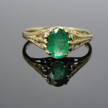 Art Nouveau Green Gold Filigree Emerald Ring, Ladies Ring or Engagement Alternative RGEM120D