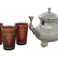 4-Pc Moroccan Tea Set, Brown, Tea & Coffee Pots