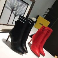 FENDI Female 2020 New Leather knight boot Winter Logo-jacquard stretch-knit  Heels Shoes Boots Top quality