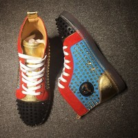 Cl Christian Louboutin Louis Spikes Mid Style #1816 Sneakers Fashion Shoes