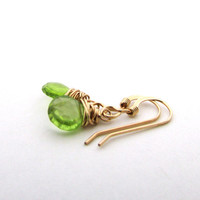Peridot earrings, lime green gemstone earrings, golf filled, August birthstone, wire wrapped