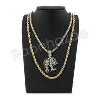 "GOLD MONEY TREE PENDANT W/ 24"" ROPE /18"" TENNIS CHAIN NECKLACE S12"