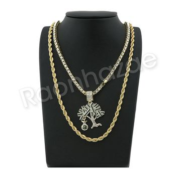 """ICED OUT GOLD MONEY TREE PENDANT W/ 24"""" ROPE /18"""" TENNIS CHAIN NECKLACE S12"""