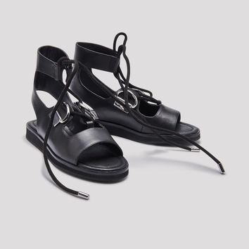 AVOCA BLACK LEATHER SANDALS