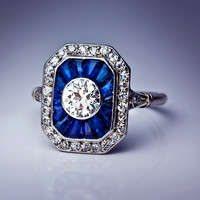 French Art Deco Diamond Sapphire Engagement Ring