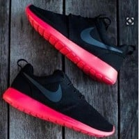NIKE Women Men Running Sport Casual Shoes Sneakers black red soles