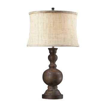 Westbridge Wooden Table Lamp With Hand Woven Natural Linen Shade Dark Oak
