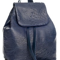 Grazia-Ostrich & Calfskin Leather Backpack Purse