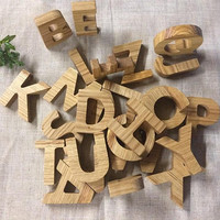 Solid Oak Wood Uppercase Letters Alphabet,Natural Oak Wood Large Letters Alphabet,Heirloom Solid Oak Alphabet Set,Uppercase Alphabet Letters