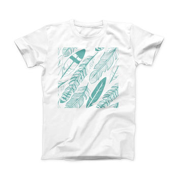 The Teal Feather Pattern ink-Fuzed Front Spot Graphic Unisex Soft-Fitted Tee Shirt