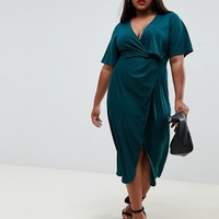 Fashion Union plus twist front midi dress at asos.com