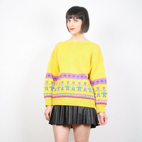 Vintage Yellow Sweater Bright Yellow Jumper New Wave Pullover Cosby Sweater Tiny People Print Chunky Knit Novelty Sweater M Medium L Large