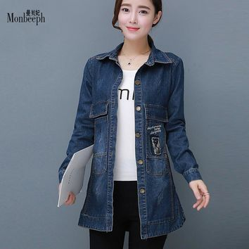 Trendy New Fashion Spring Women Long Sleeve Casual Denim Jacket Patch Designs Letter Single Breasted slim Jean Jacket Plus Size M- 4XL AT_94_13
