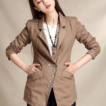 Women blazers and jackets, plaid blazer, linen blazer, women suit, office coat, coffee blazer, blazer slim, coffee blazer (ESR121)