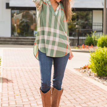 This Plaid Is Here To Stay Top, Seafoam