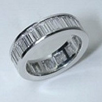5.65ct Baguettes Diamond Eternity ring 18kt White Gold JEWELFORME BLUE