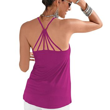 Purple Strappy Back Detail Summer Top