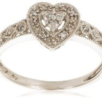 10k White Gold Diamond Heart Ring (0.03 cttw, I-J Color, I2-I3 Clarity), Size 6