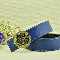 Versace Litchi Stria Belt Men's Blue Leather Belt Vercase Collection