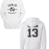 Lightwood 13 Idris University Unisex Hoodie S to 3XL White
