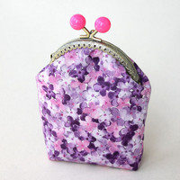 Girls Coin purse Lilac Flower Pink Candy Pop Frame Teen Purse Coin metal purse Coin Wallet Pouch coin purse Kiss lock frame purse bag