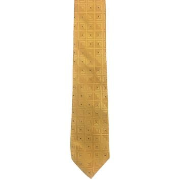 Joseph Abboud Diamond Check Wide Silk Ties - Gold