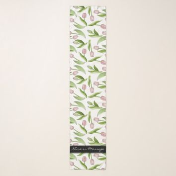 Pink Tulip Floral Patten Cute Modern Personalized Scarf