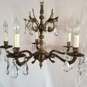 Antique Vintage Brass Crystal Chandelier Made in Spain 1930s
