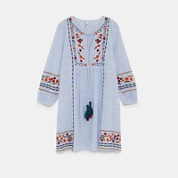 STRIPED TUNIC WITH EMBROIDERY AND TASSELS DETAILS