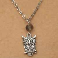 Owl and Smoky Crystal Necklace by turquoisecity on Etsy