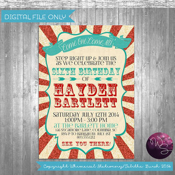 "Circus/Carnival Birthday Invite ""Carnival Fun"" Invitation (Printable File Only); Glitter Red Tent Cirus Carnival Birthday"