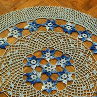 Stars In The Sky - Thread Lace Art 16 1/2 In. Doily - Blue Decor