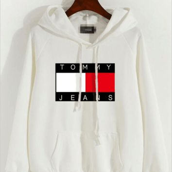 """Tommy Jeans"" Women Casual Letter Multicolor Pattern Long Sleeve Hooded Sweater Sweatshirt Tops F"