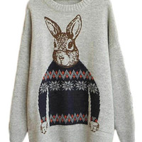 l Rabbit Print Knitted Loose Pullover Sweater