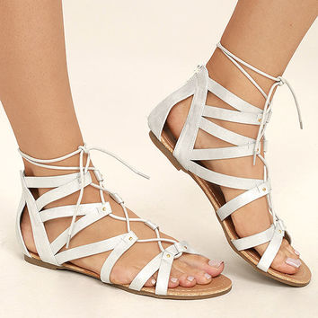 Neala Silver Lace-Up Flat Sandals