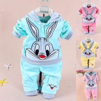 Baby Set Cartoon Rabbit Velvet Set Twinset Long Sleeve Set Hoodie & Pant, Newborn Babies 100% Cotton Suits, Children's Clothes. [9325373060]